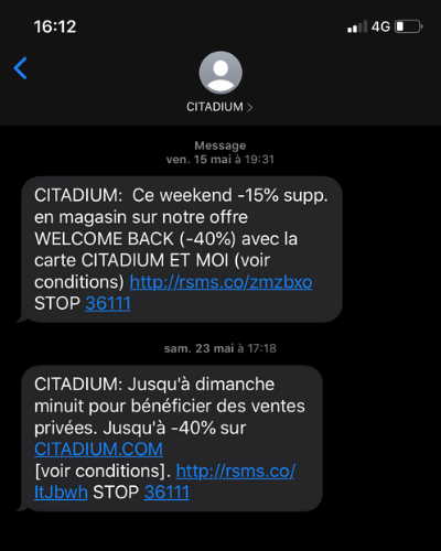 SMS Marketing Citadium post-covid