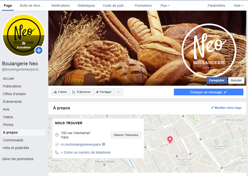 Page Facebook Boulangerie Neo