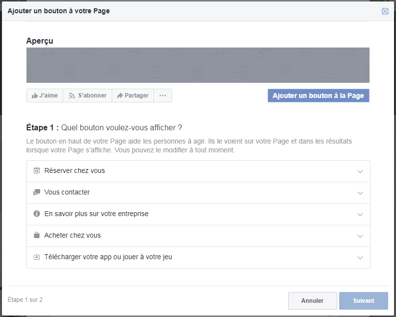 Modification du bouton d'actions facebook créer une page Facebook