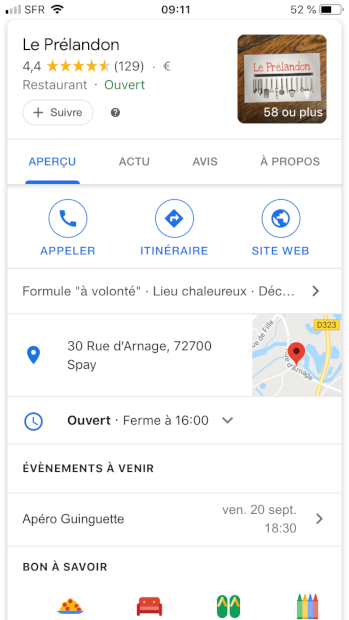 google my business Le Prelandon